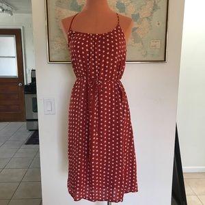 ANN TAYLOR LOFT Rust Print Midi Sun Dress